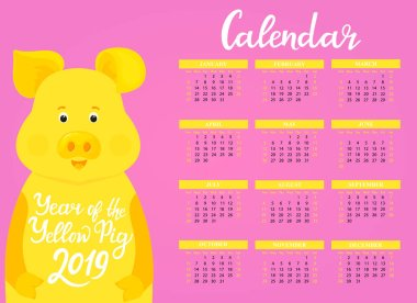 Wall Calendar for 2019 from Sunday to Saturday. Chinese New Year of the yellow earth pig. Cute piggy