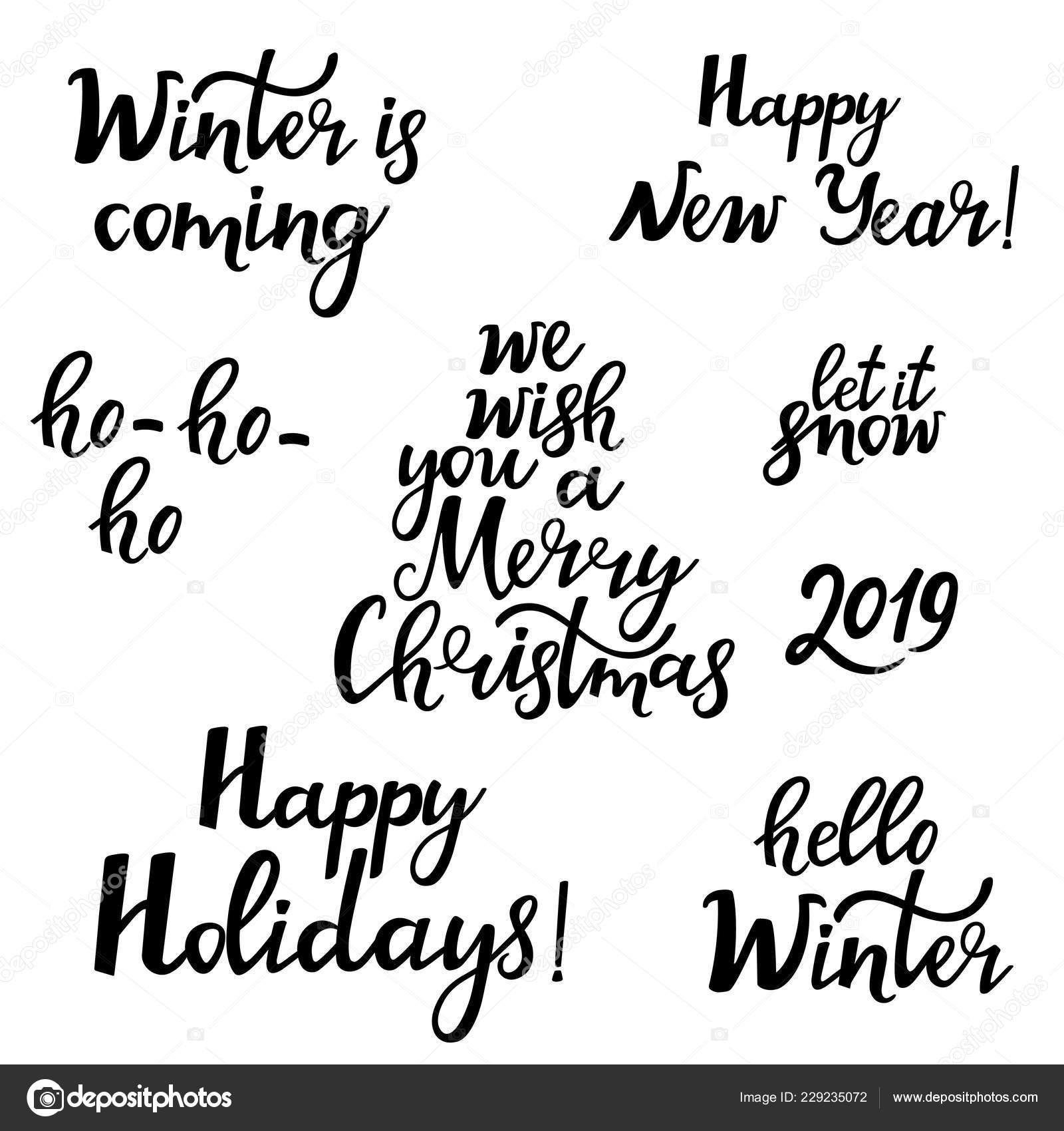 Feliz Natal Feliz Ano Novo 2019 Olá Inverno Conjunto Frases