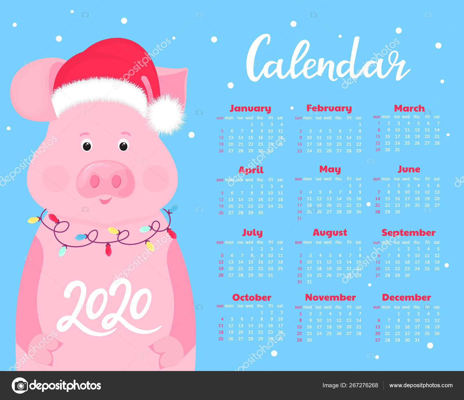 December Calendar 2020 Santa Calendar for 2020. Week start on Sunday. Cute pig in a hat of