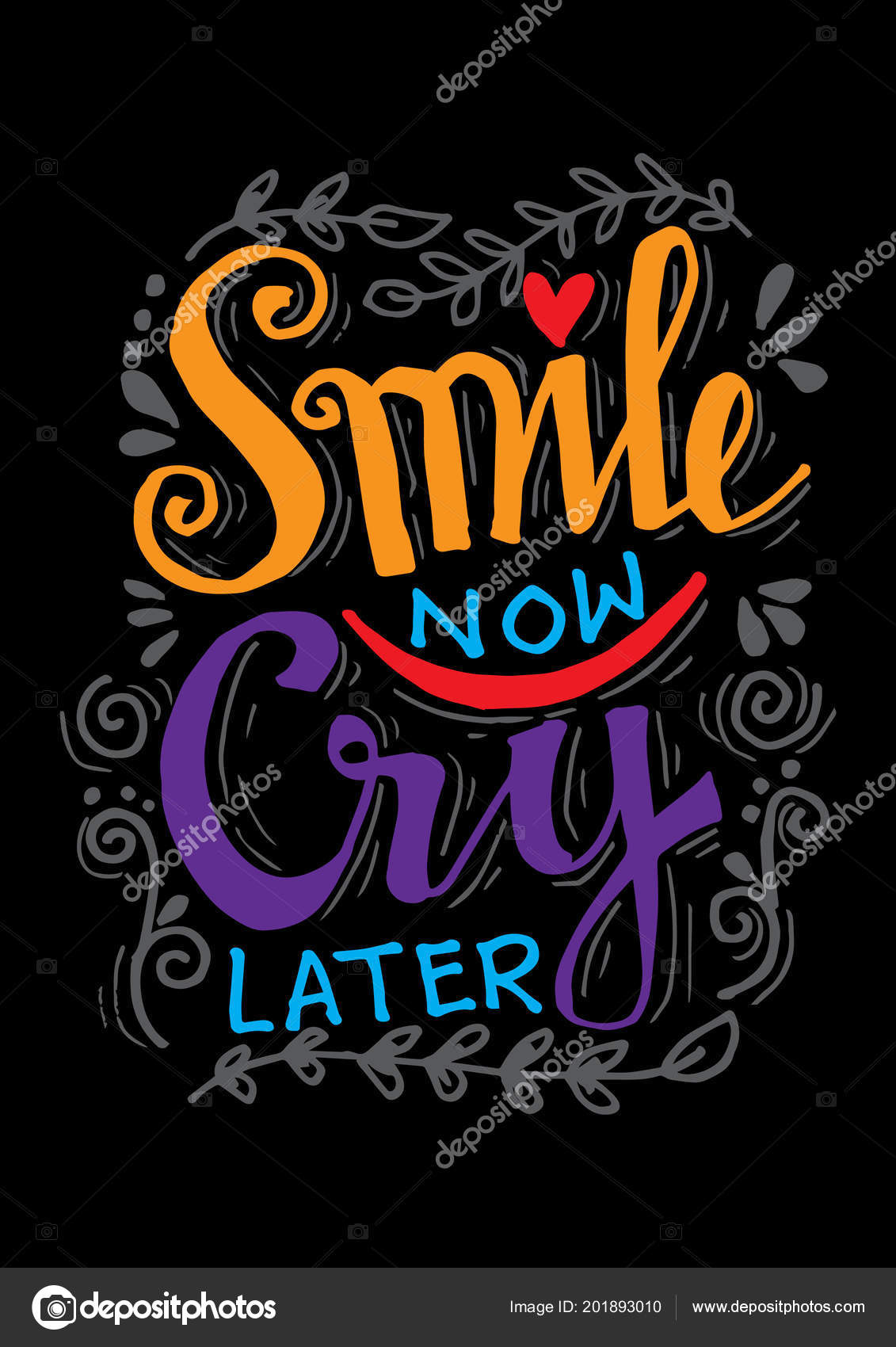 Smile Now Cry Later Hand Drawn Motivation Lettering Quote — Stock