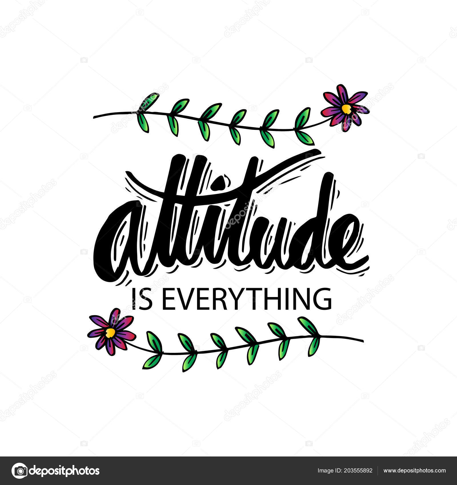 attitude everything hand lettering motivational quote stock photo
