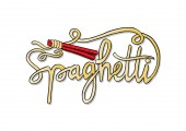 Spaghetti Text with chopsticks. Hand drawing illustration.