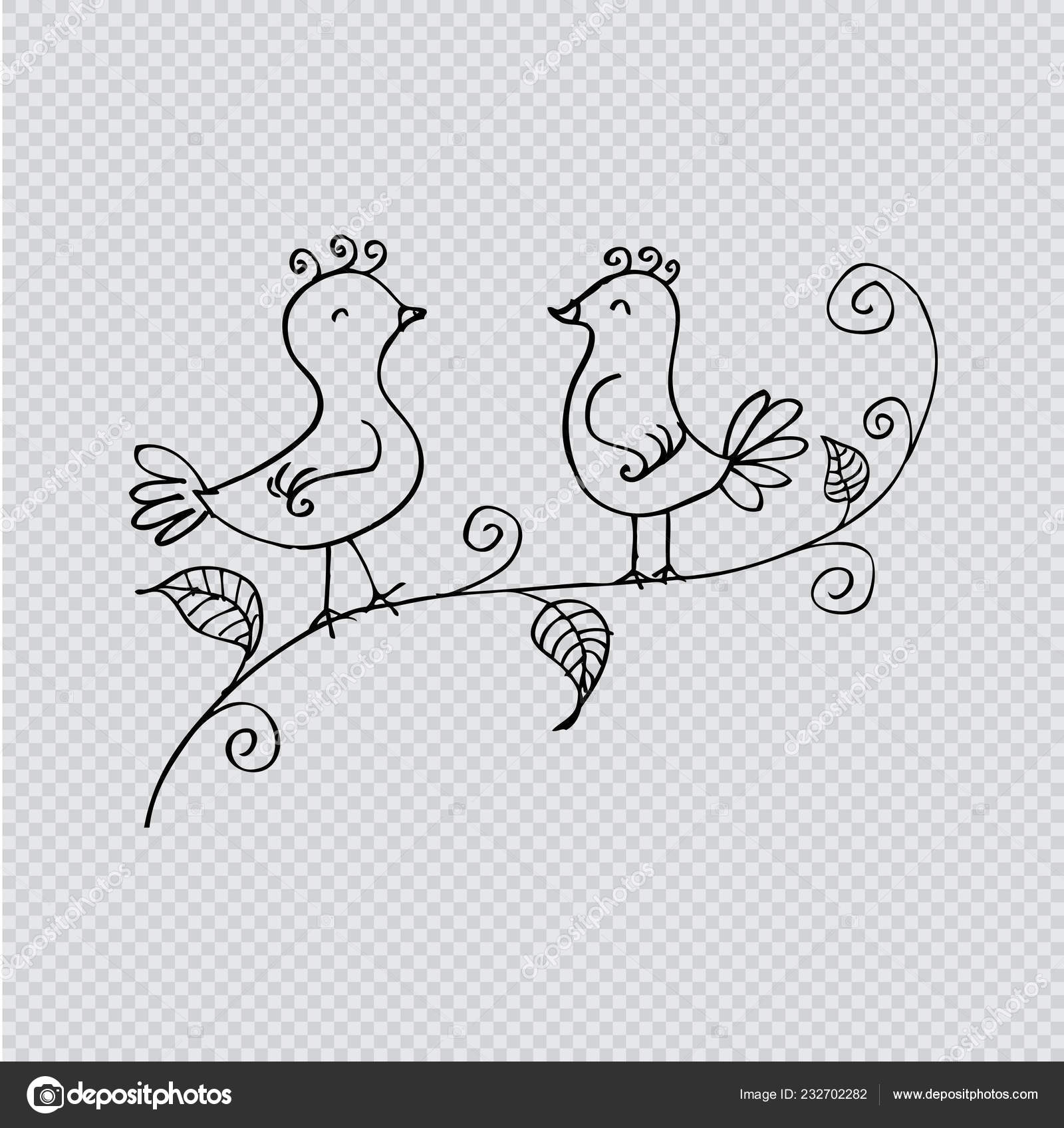Birds Branch Two Romantic Birds Sitting Tree Hand Drawing Illustration Vector Image By C Handini Vector Stock 232702282