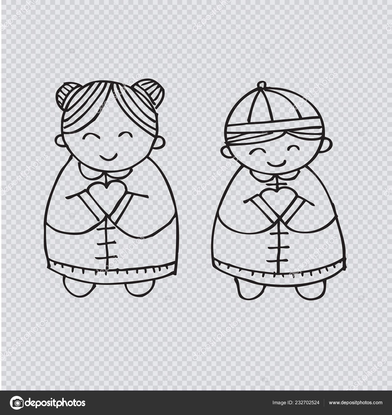 Nouvel Chinois Fille Garçon Illustration Dessin Main Image