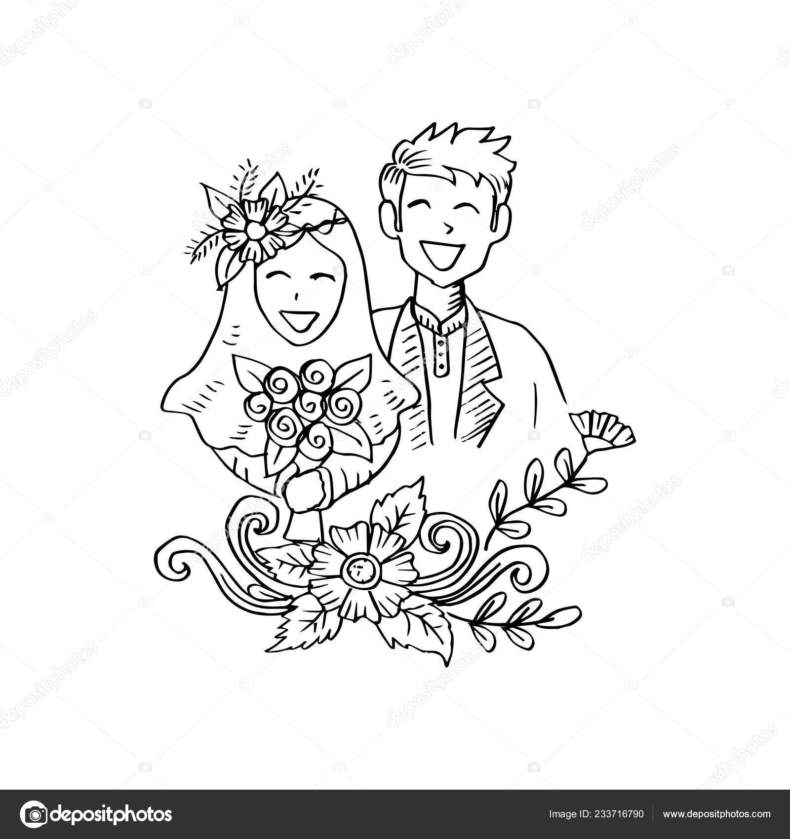 Muslim Couple Wedding Card Stock Vector C Handini 233716790