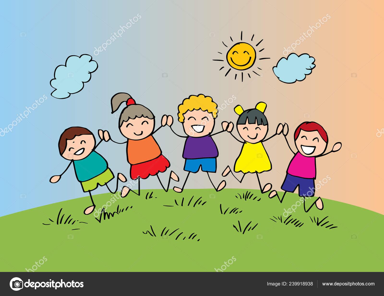 Niños Felices Dibujos Animados Jugando Juntos