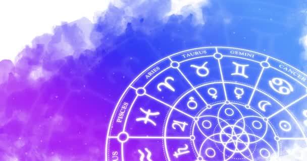Tierkreiszeichen mit astrologischen Zeichen rotieren auf einem aquarellfarbenen Hintergrund. Looping-Animation.
