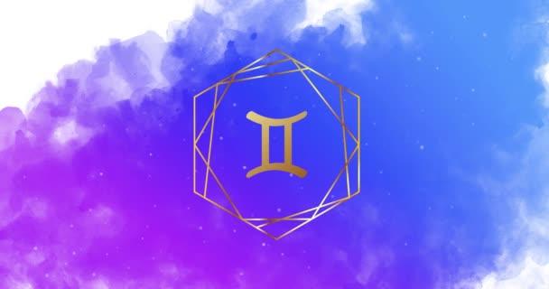 Sternzeichen. Ein Satz goldener Tierkreiszeichen auf aquarelliertem Hintergrund. Geometrisches Muster. Zeichen ändern sich nacheinander, Animation in Schleifen.