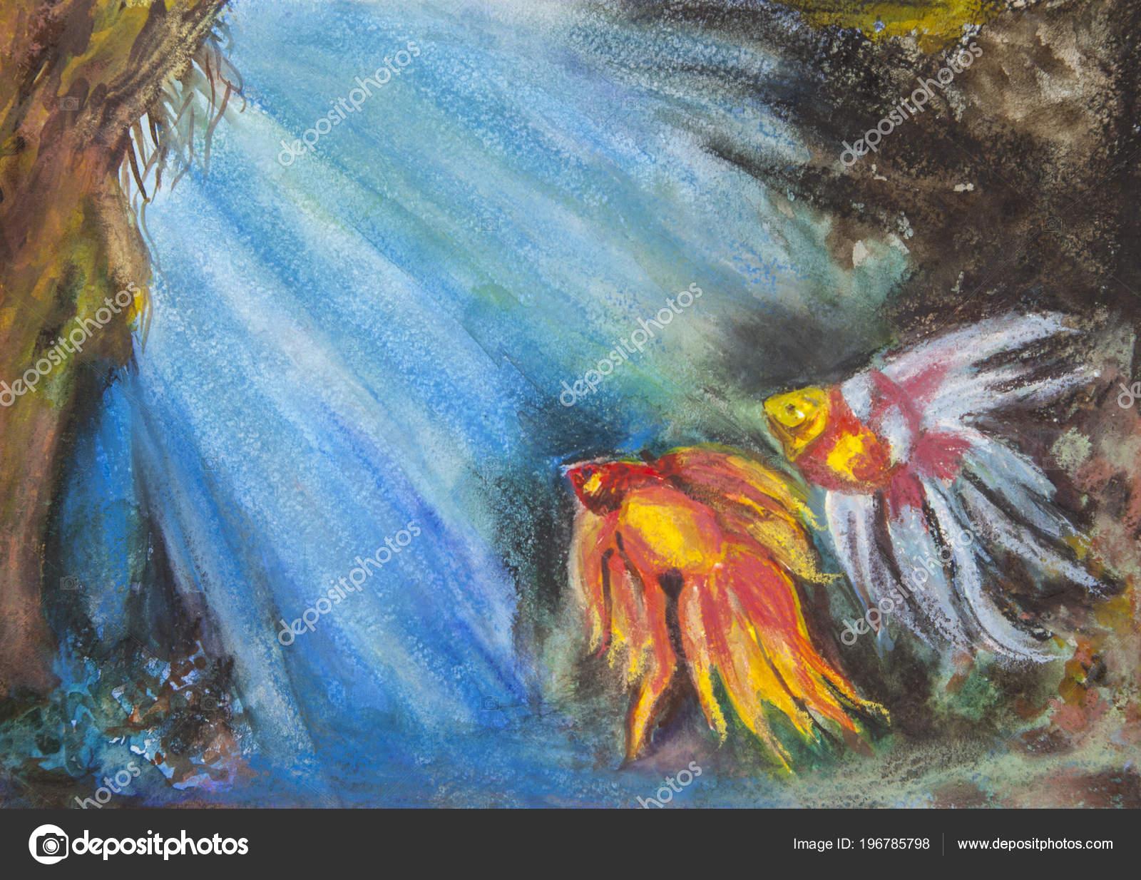 Kresba Akvarelem Dve Zlate Rybky Dne More Stock Fotografie C E M