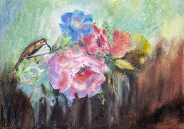 Drawing with watercolor, bird of hummingbirds on flowers