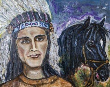 """Картина, постер, плакат, фотообои """"американский индеец с картиной маслом черной лошади поп"""", артикул 226844092"""