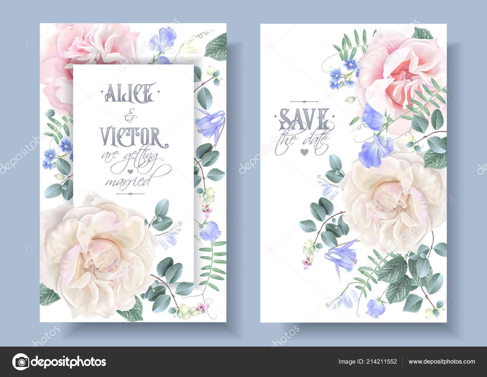 Vector Vintage Floral Hochzeitskarten Mit Rosen Stockvektor