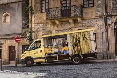 Irun, Spain - April 27, 2018: Delivery truck delivering drinks to city bars on a spring day