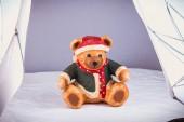 Fényképek kis medve öltözött karácsonyra vesz egy fotó stúdió