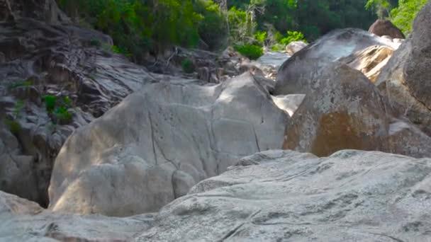 Zelený tropický prales v horské džungle. Panoramatický pohled velké skály a kameny v džungli lese v horách. Divoké přírody v krajině deštný prales