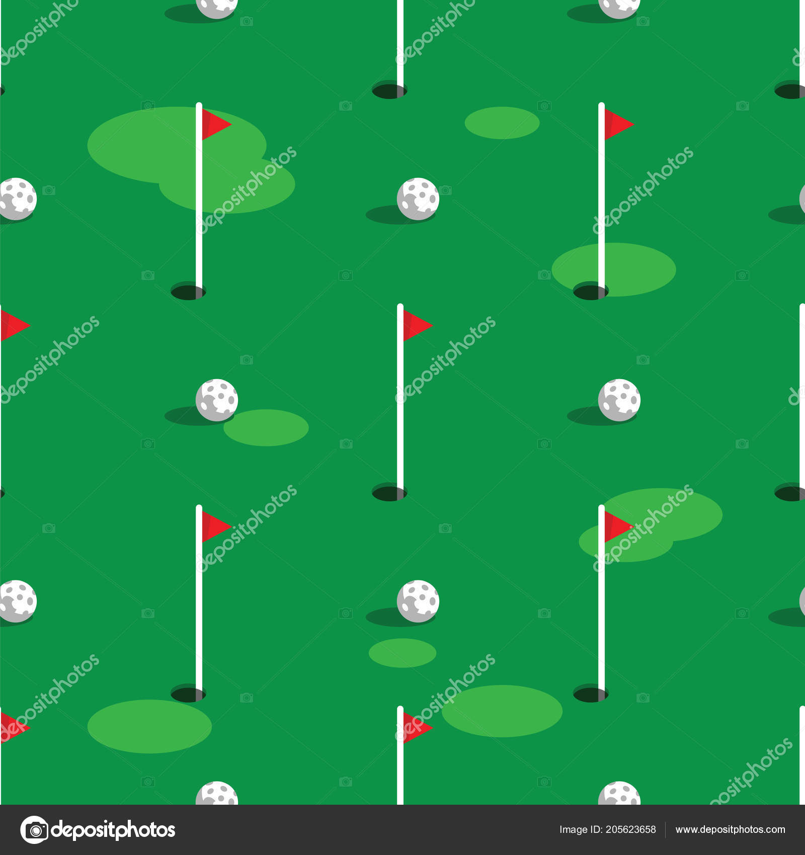 Golf Course Pattern Background Green Grass And Hole On Golf Field Flags And Balls On Green Golf Course Seamless Pattern Stock Vector C Cobectbhax Gmail Com 205623658