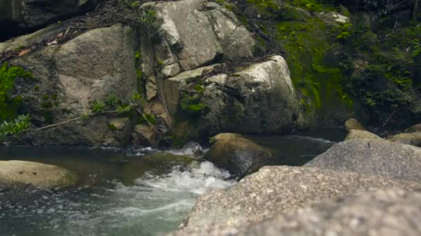 Stream water in rapid river in mountain. Water stream quickly flowing in rocky river.