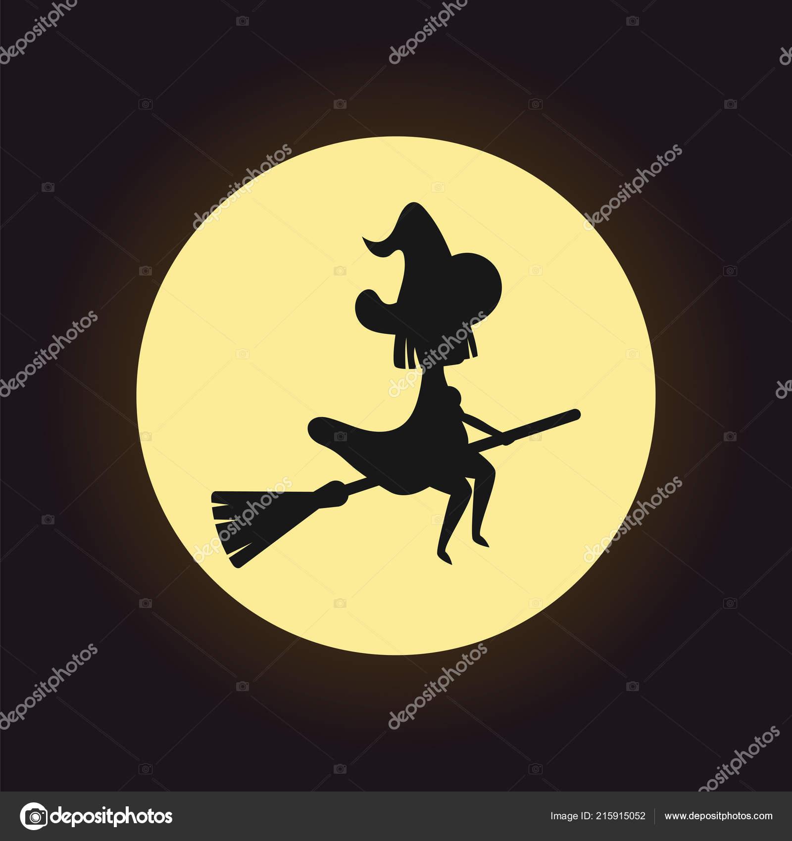 Hexe Silhouette Fliegen Auf Besen über Nacht Mond Hintergrund