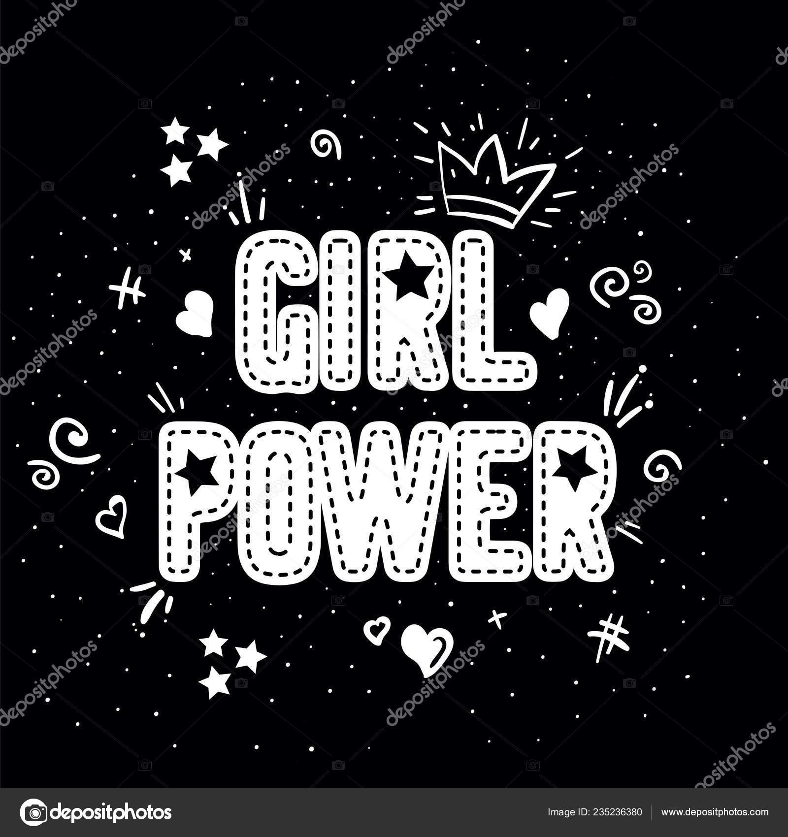 Poder Feminino Com Letras Coroa Com Fundo Preto Slogan