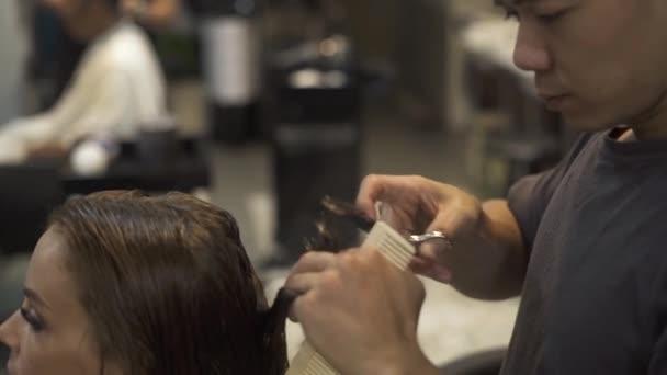 Profesionální ženský účes a péče v kosmetické studio. Kadeřník stříhání dlouhé vlasy s nůžkami v holičství. Mladá žena přijímá účes v kadeřnictví. Kosmetický průmysl