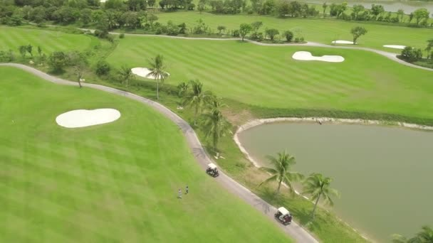 Golfer playing on green golf course top view from flying drone. Aerial view people on green field in golf club, car and lake landscape. Sport and hobbies concept.
