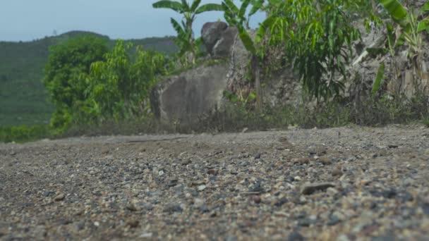 Motocyklista jezdí na motocykl na silnici na štěrkovou krajinu. Moto motorker na motorce na silnici. Moto Sport a cestování. Životní styl motocyklů.