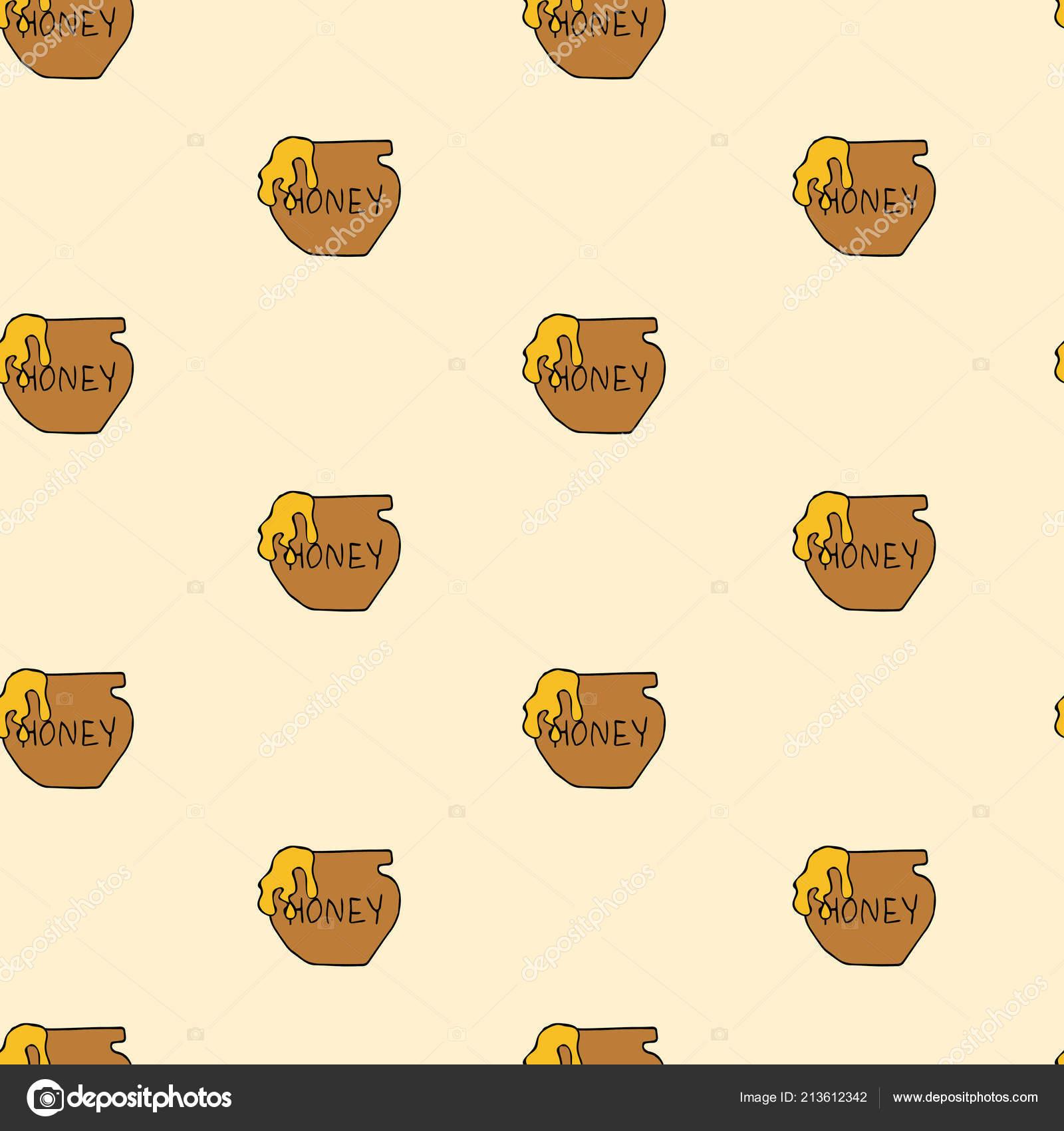 Olla de miel vector de patrones sin fisuras — Vector de stock ...