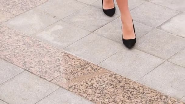 fdfeab5ed80 Female Legs High Heels Shoes Walking Urban Street Feet Young — Stock Video