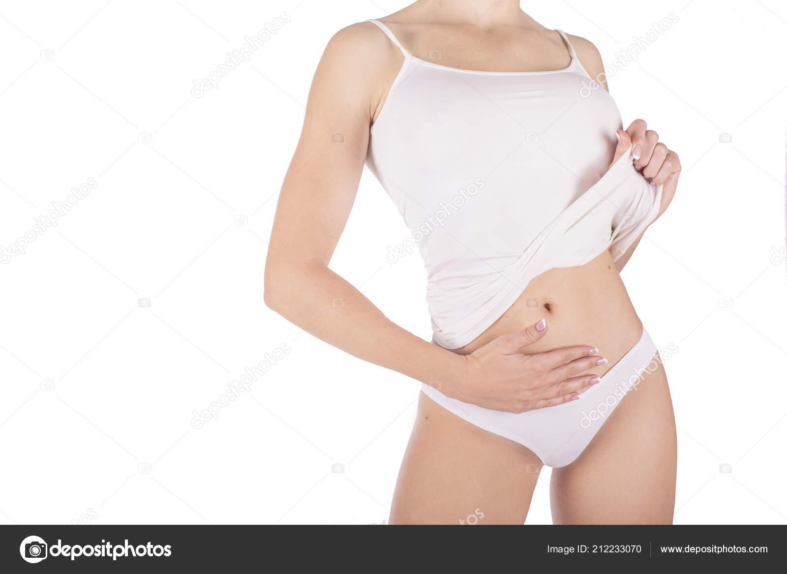 6c653d6a0 Corpo Mulher Cueca Branca Emagrecimento Isolado Branco — Fotografia de Stock