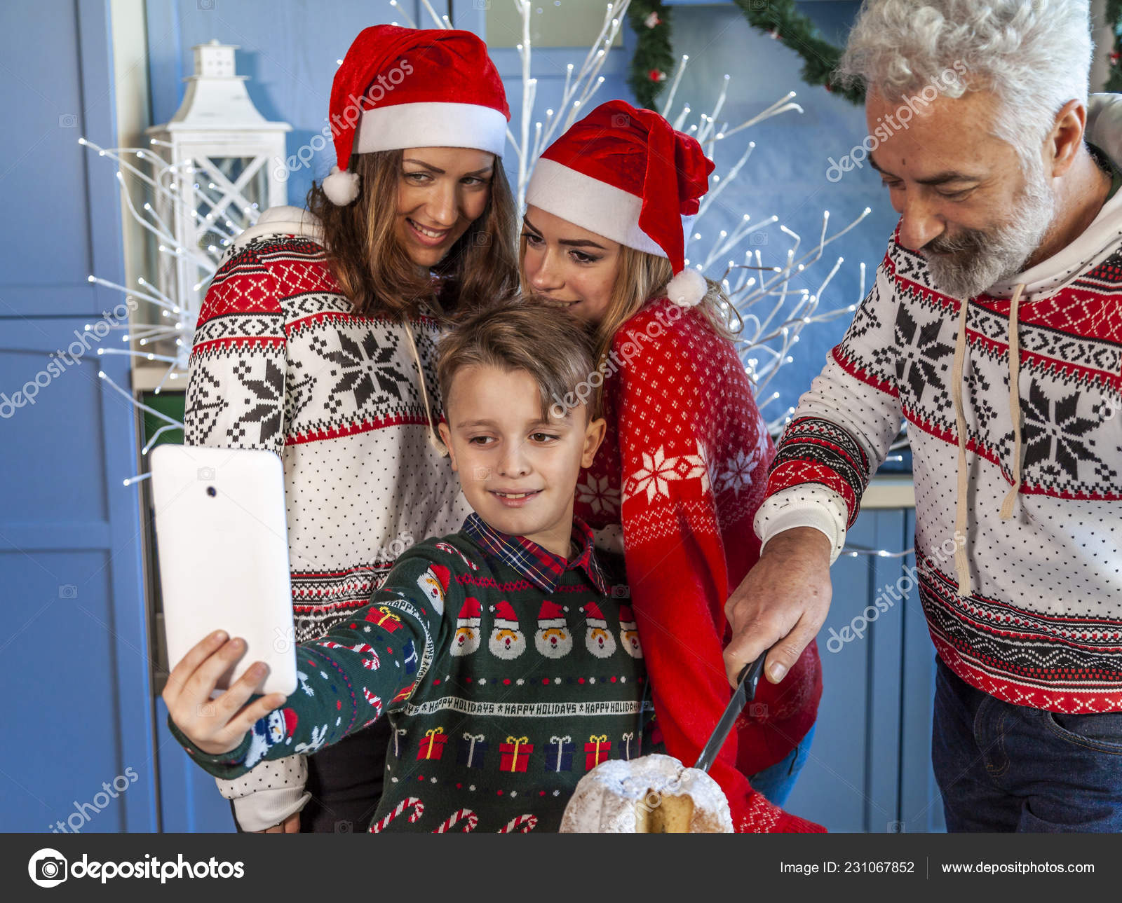 Reunited At Christmas.Happy Family Reunited Christmas Day Taking Selfie Table Home