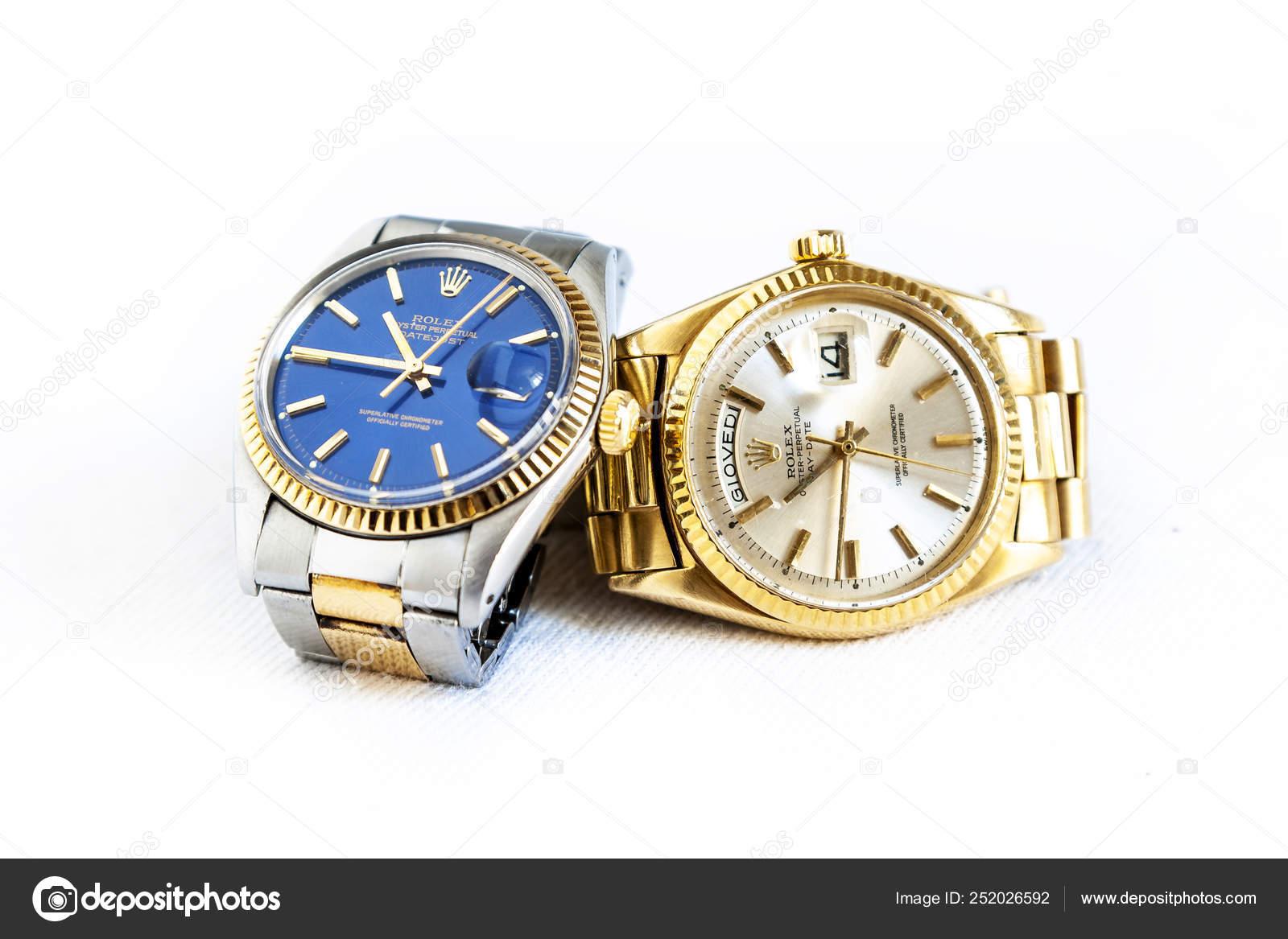 Orologio Rolex Oyster Perpetual Day Date E Oyster Blu Su Bianco