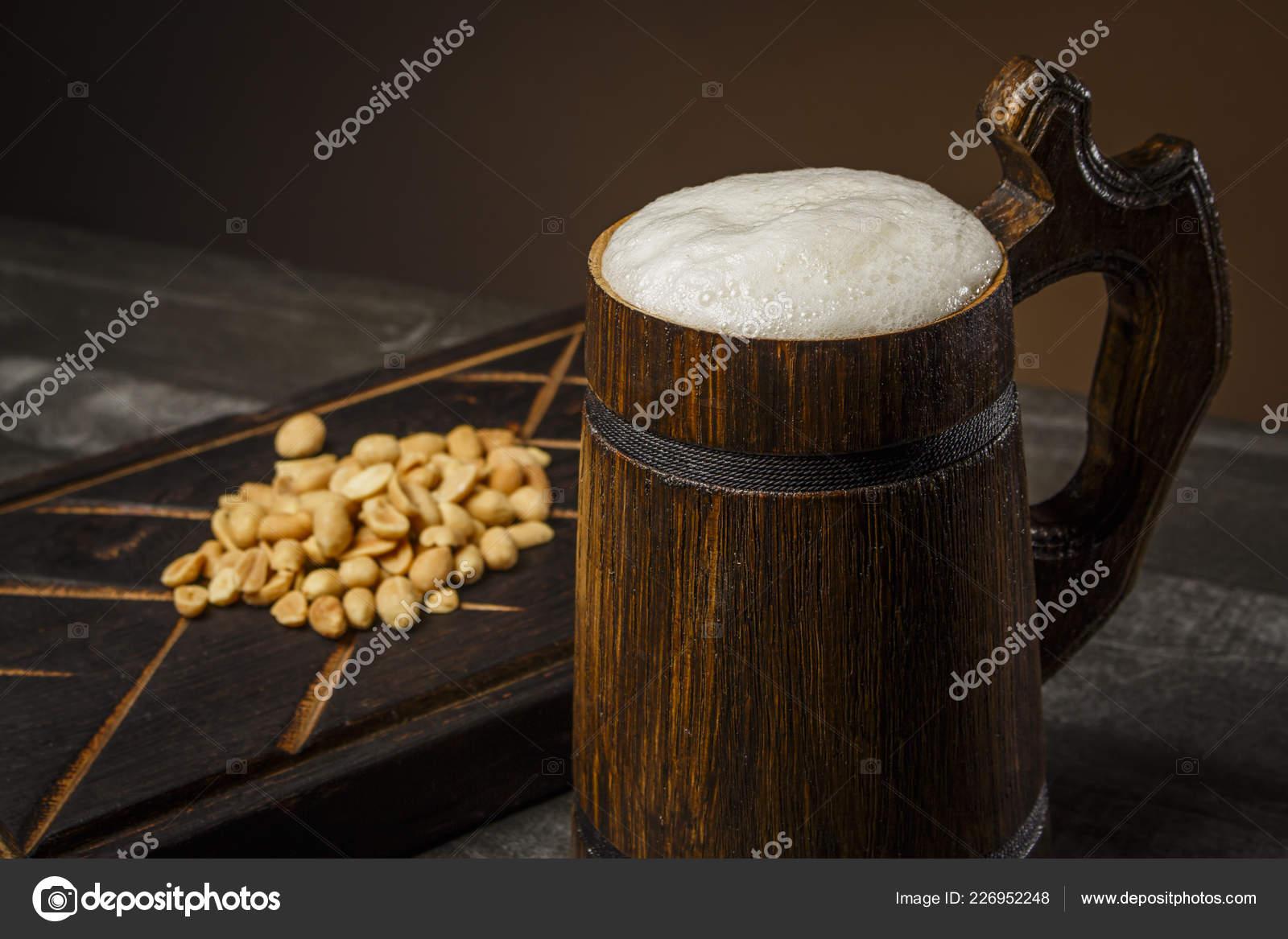 Beer Wooden Mug Peanuts Board Stock Photo Semenyakasanyaiua