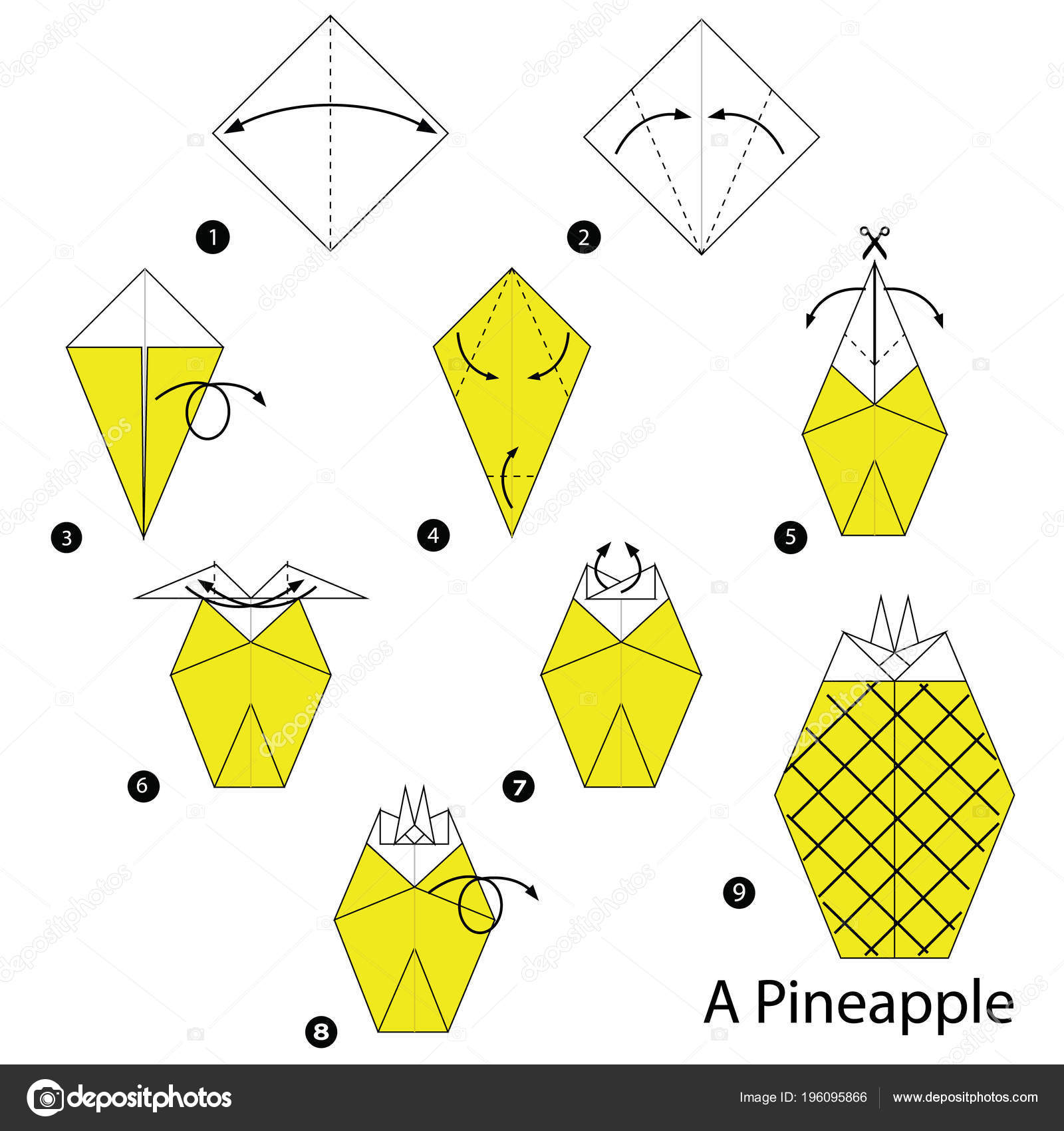 Step Step Instructions How Make Origami Pineapple Stock Vector