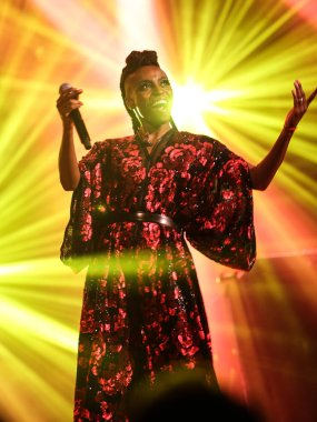 Zurich, Switzerland, May 11, 2018: Concert of famous trip hop band Morcheeba. The beautiful singer, Skye Edwards, singing live on stage in night club on may 11, 2018 in Zurich. (photo by Michele Morrone).