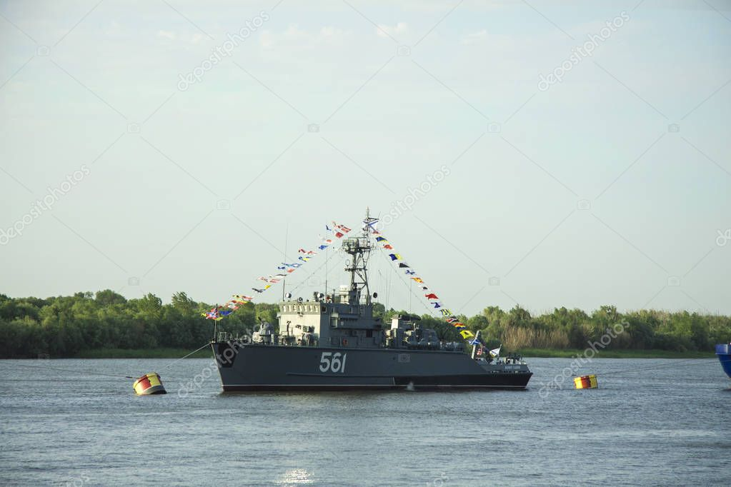 ASTRAKHAN, RUSSIA JULY 28 2018: The warships of the Caspian Flotilla