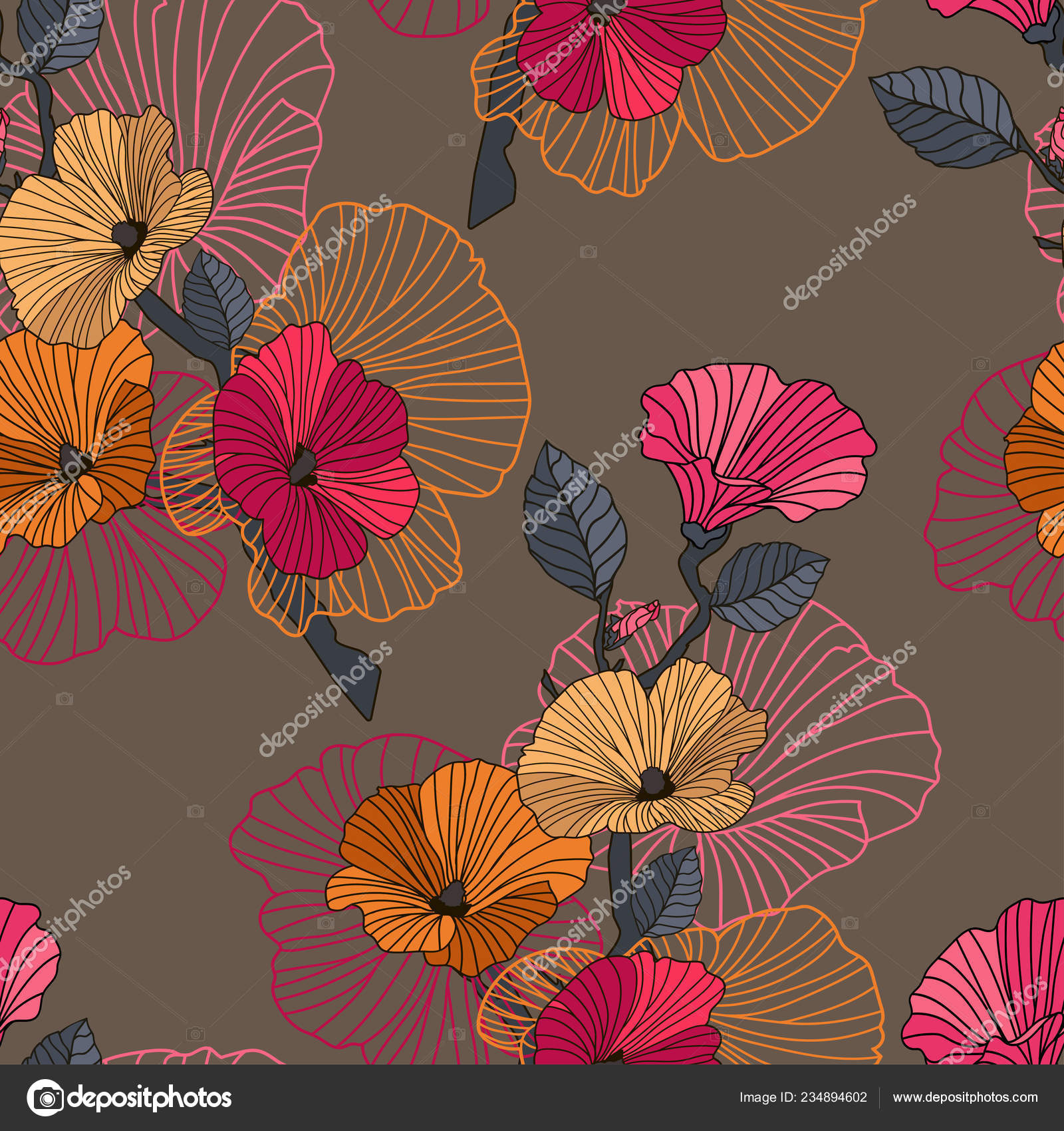 Vector Abstract Floral Seamless Pattern Branch With Flowers