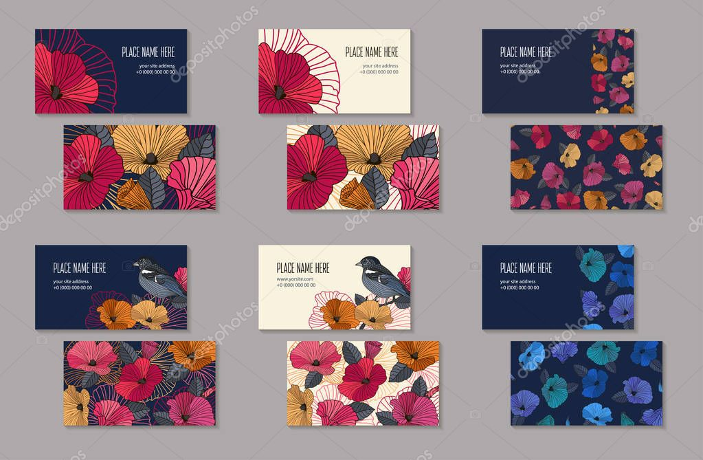 Set of business cards templates for company branding.