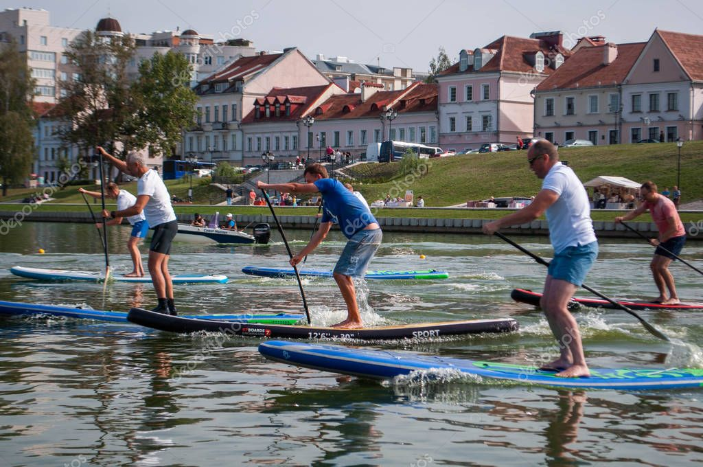 Minsk, Belarus-September 8, 2018: start the race to stand up paddle. event in the city,