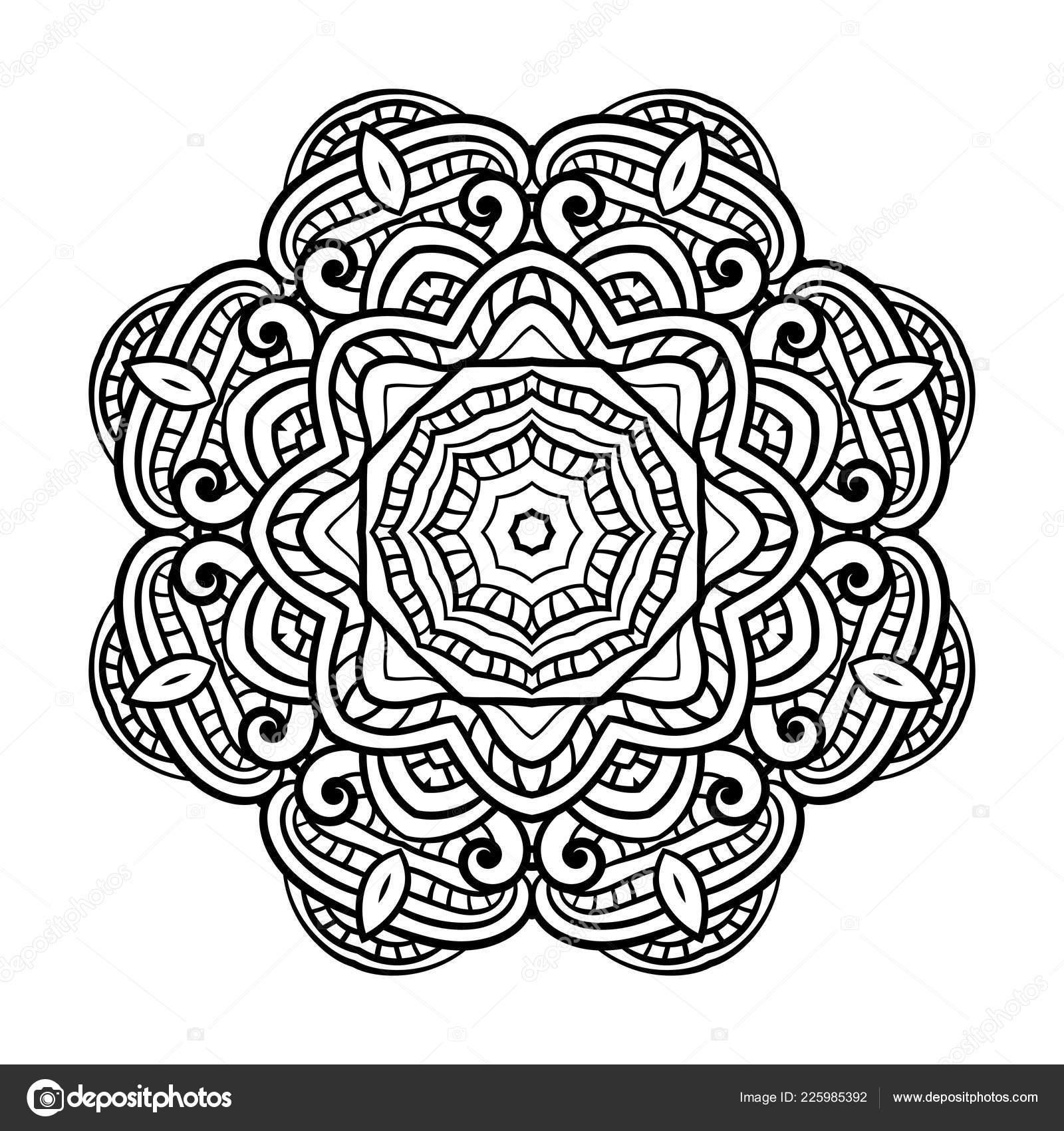 Volwassen Kleurplaten Mandala.Volwassen Kleurplaat Mandala Vector Stockvector
