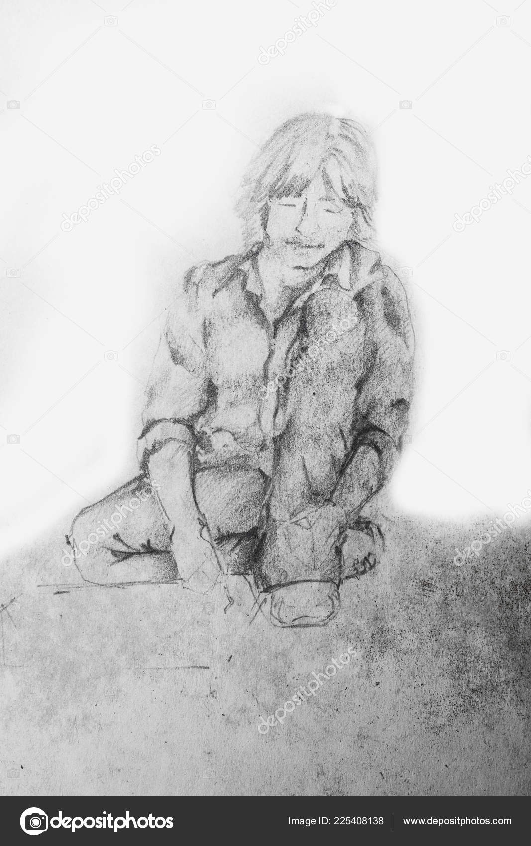 Young student boy sitting reading book ground pencil sketch stock photo