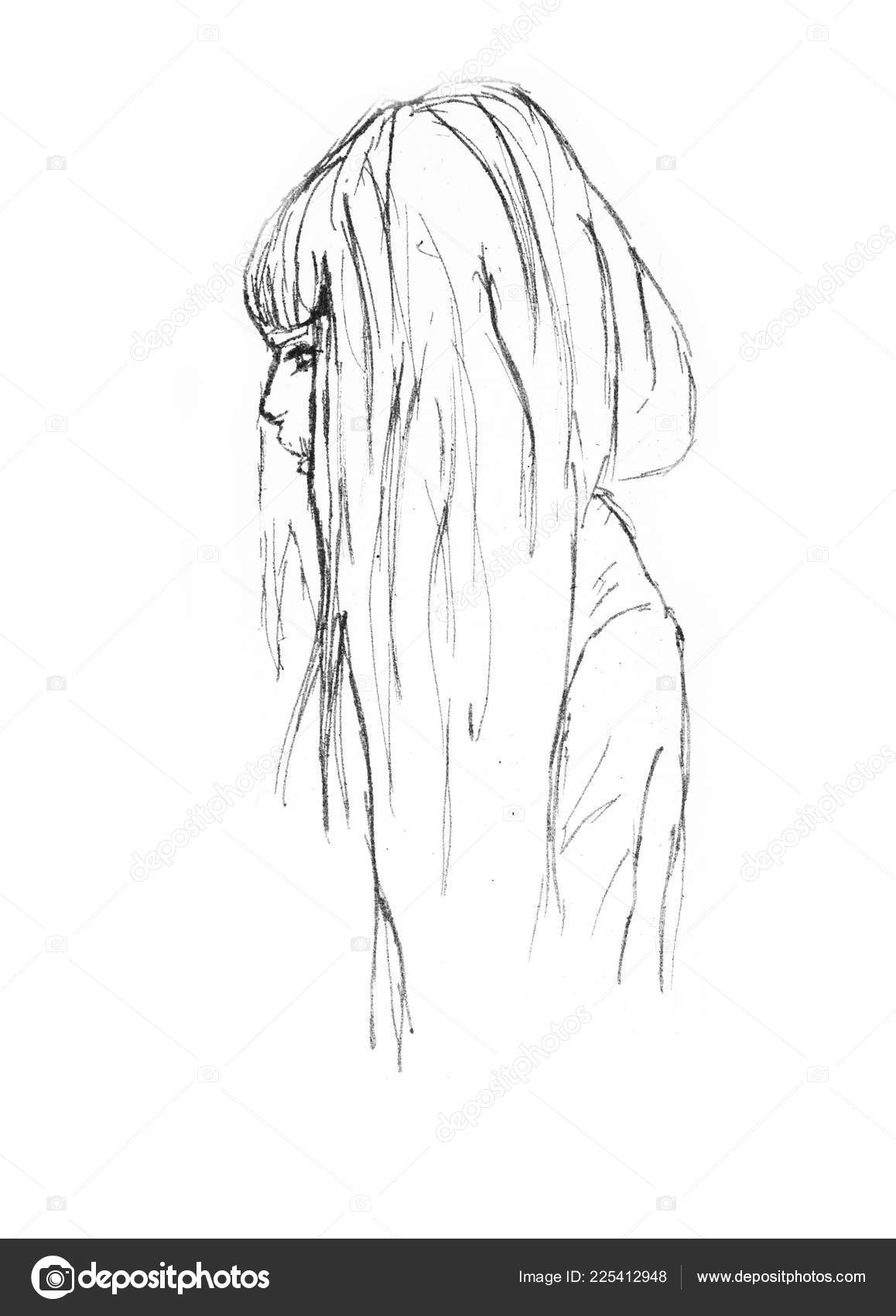 Hand drawn beautiful girl portrait pencil sketch anime girl white stock photo