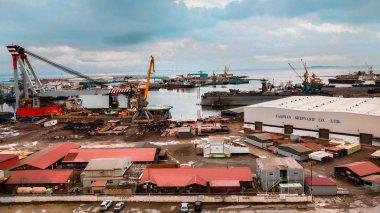 Beautiful view of dockyard port in baku azerbaijan
