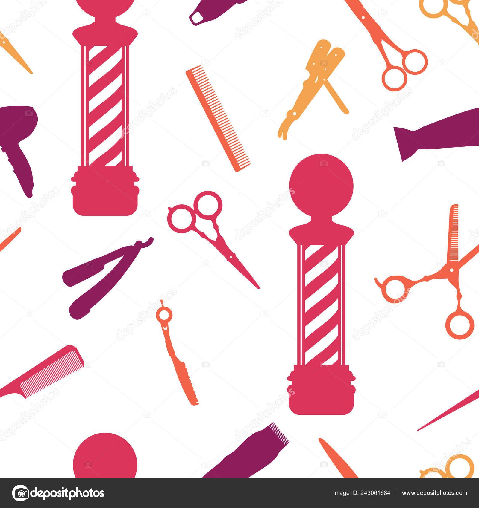 Seamless Pattern of Barbershop Salon Hair Cut Wallpaper Background — Vector by jongjawi.yahoo.co.id
