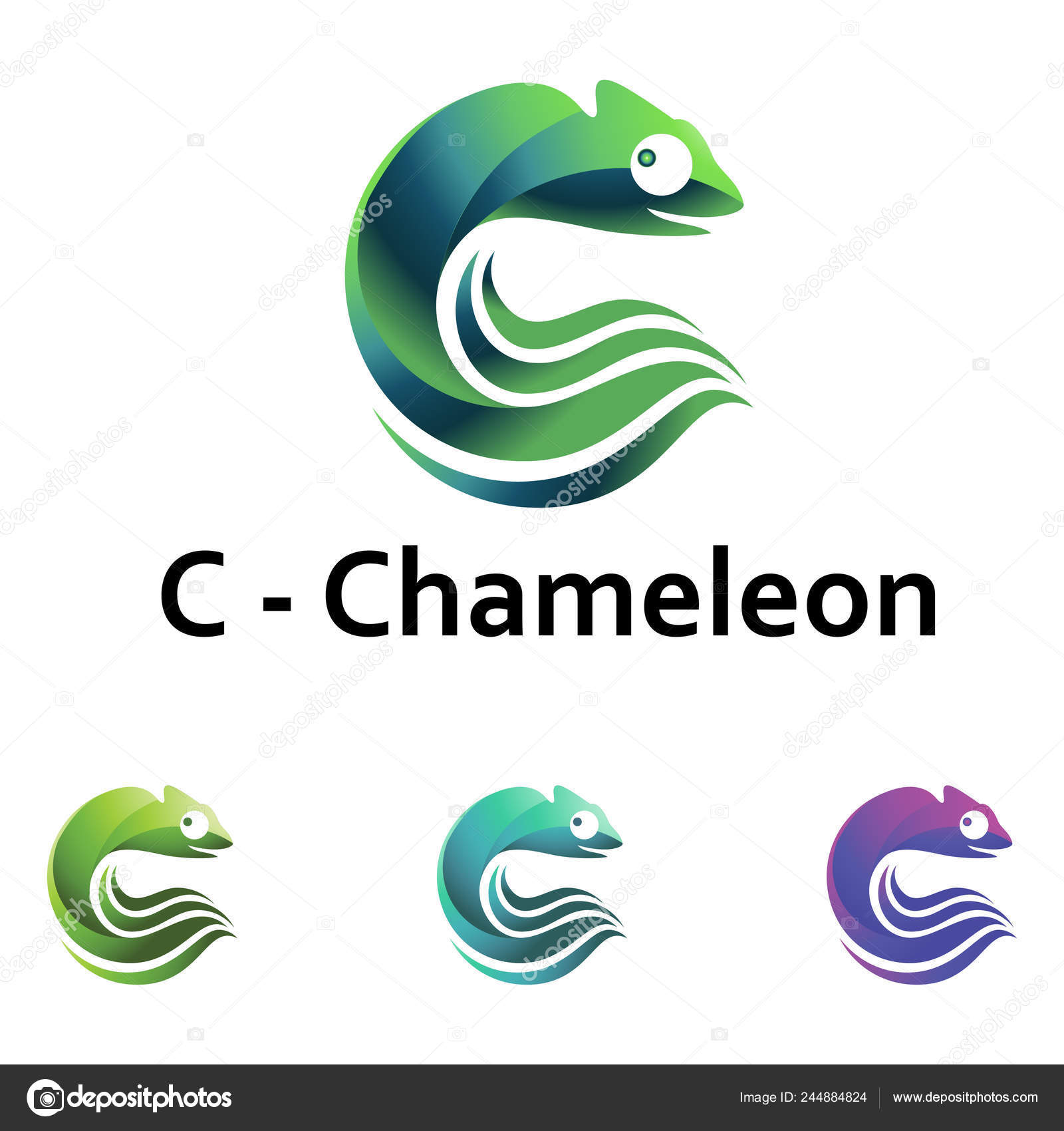 Chameleon Wave Shape Isolated Logo Template Stock Vector