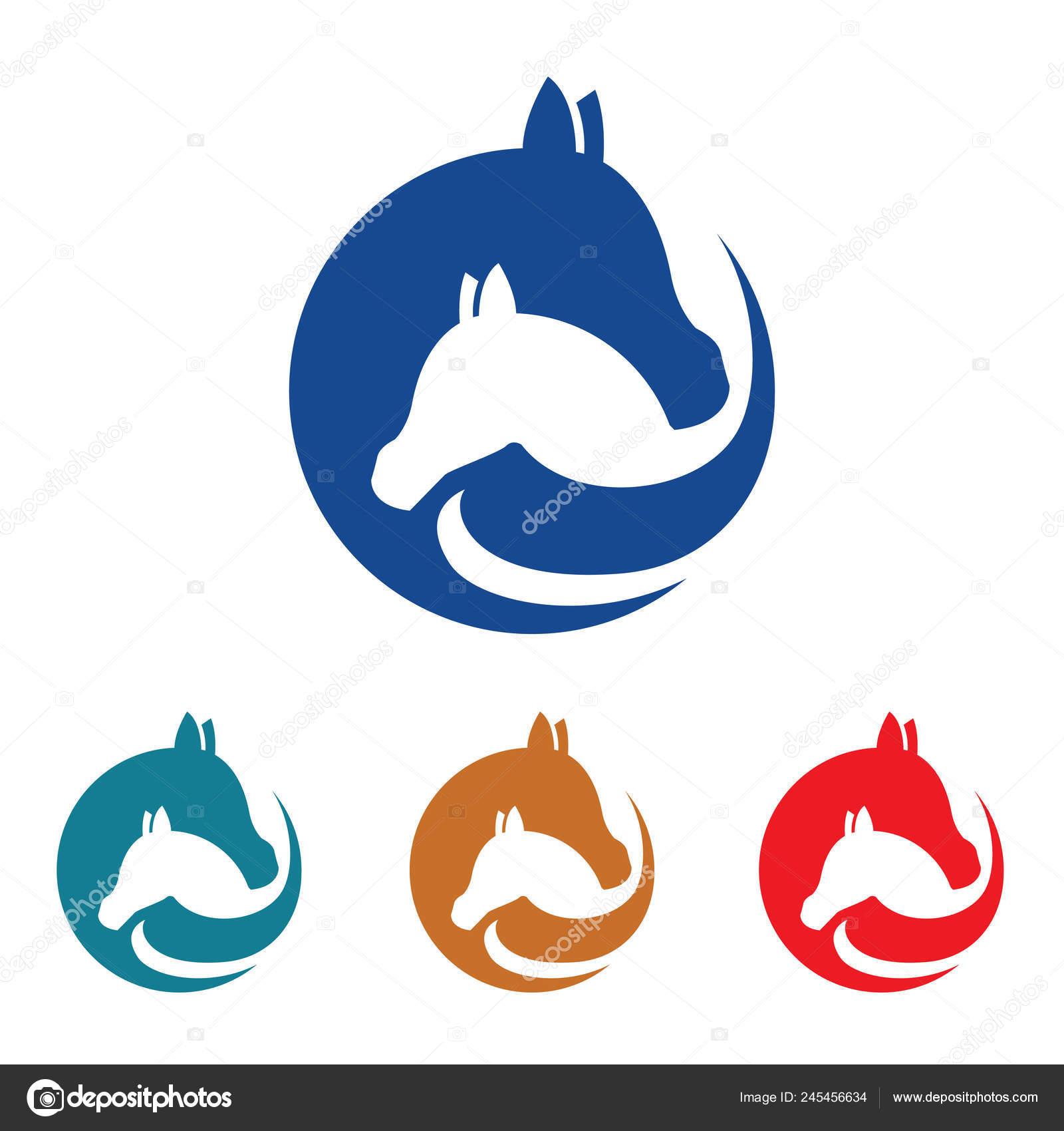 Horse Farm Simple Cute Flat Logo Symbol Stock Vector C Jongjawi Yahoo Co Id 245456634