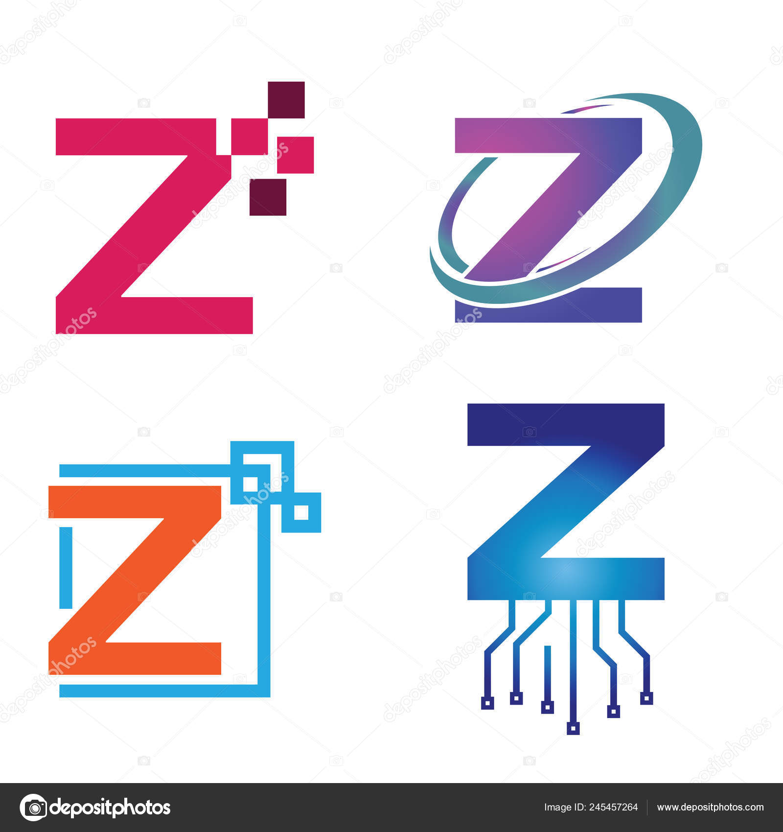 Initial Letter Technology Logo Symbol Collection — Stock
