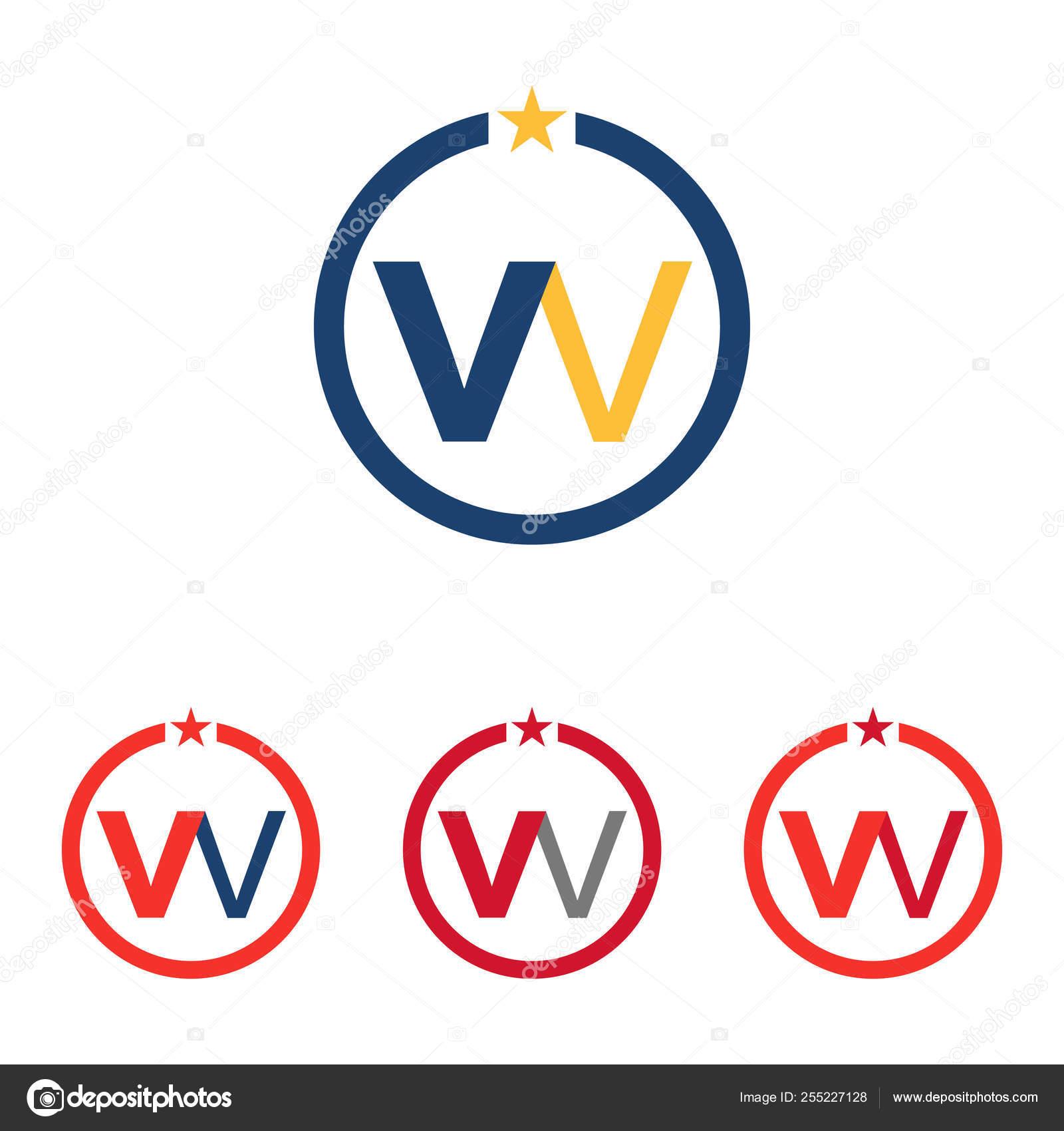 W - WV - VW Circle Star Logo Symbol Template — Stock Vector