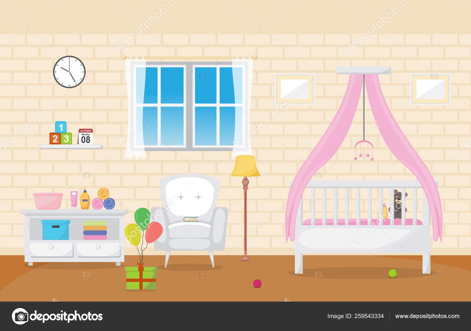 Baby Kleinkind Kinder Schlafzimmer Innenzimmer Möbel Flaches ...