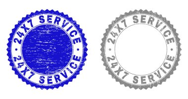 Textured 24X7 SERVICE Grunge Stamp Seals with Ribbon