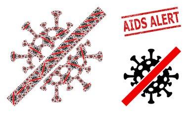 Cancel Coronavirus Collage of Cancel Coronavirus Items and Textured AIDS Alert Stamp